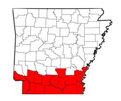 Map of South Arkansas (AR) and surrounding area