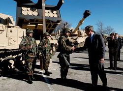 President George W. Bush greeting soldiers at Fort Hood in Killeen, Texas (TX)